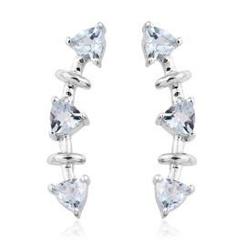 Espirito Santo Aquamarine 1 Carat Silver Climber Earrings in Platinum Overlay
