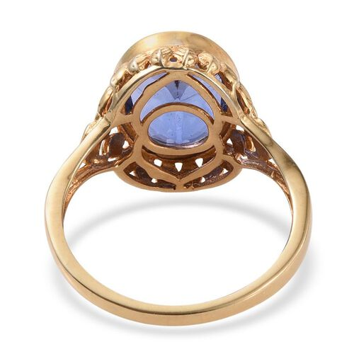 Colour Change Fluorite (Ovl) Solitaire Ring in 14K Gold Overlay Sterling Silver 6.500 Ct.