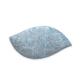 (Option 2) Handmade Leaf Shaped Shell Inlay Bowl with Black Resin (Size 28x19 Cm)