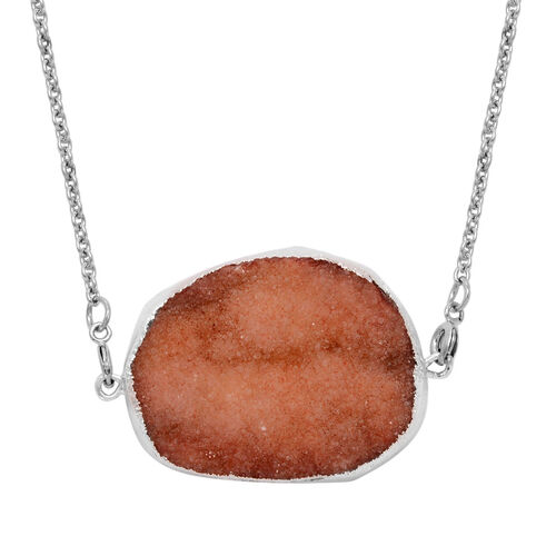 Drusy Quartz and Strawberry Quartz Solitaire Pendant With Chain and Bracelet (Size 7.5) in Stainless Steel