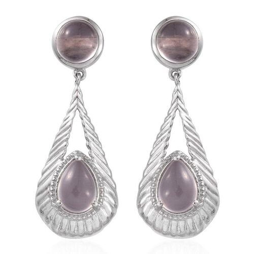 Rose Quartz (Pear) Earrings (with Push Back) in Platinum Overlay Sterling Silver 9.000 Ct.