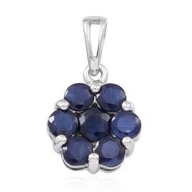 9K W Gold Kanchanaburi Blue Sapphire (Rnd) 7 Stone Floral Pendant 1.750 Ct.