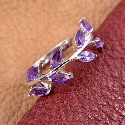 Kimberley Wild at Heart Collection Amethyst (Mrq) Leaves Ring in Platinum Overlay Sterling Silver 1.000 Ct.
