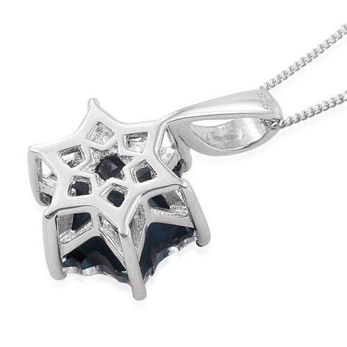 LIMITED EDITION STELLARIS CUT Indicolite Quartz Pendant With Chain in Platinum Overlay Sterling Silver 7.000 Ct.