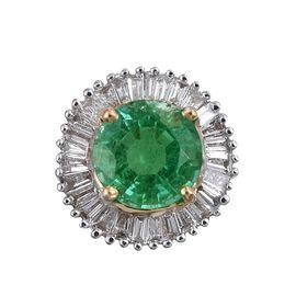 ILIANA 18K Y Gold AAAA Kagem Zambian Emerald (Rnd 0.80 Ct), Diamond (SI/G-H) Pendant 1.000 Ct.