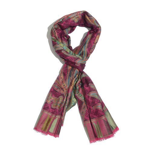 100% Modal Multi Colour Floral and Leaves Pattern Fuchsia and Green Colour Jacquard Scarf (Size 190x70 Cm)