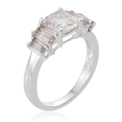 Golconda Diamond Topaz (Cush 1.75 Ct), White Topaz Ring in Sterling Silver 2.750 Ct.