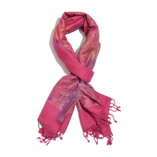 Multi Colour Peacock Pattern Magenta Colour Jacquard Scarf with Fringes (Size 200x70 Cm)