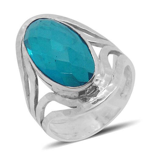Royal Bali Collection Capri Blue Quartz (Ovl) Ring in Sterling Silver 11.120 Ct.