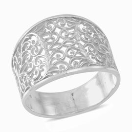 Thai Rhodium Plated Sterling Silver Filigree Band Ring, Silver wt 5.50 Gms.