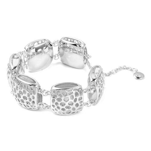RACHEL GALLEY Rhodium Plated Sterling Silver Memento Diamond Bracelet (Size 8), Silver wt 46.00 Gms.