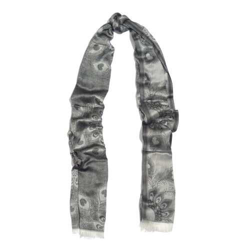 Peacock Feather Pattern Black Colour Reversible Scarf (Size 180x70 Cm)
