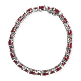African Ruby (Cush) Bracelet in Rhodium Plated Sterling Silver (Size 7.5) 42.000 Ct.