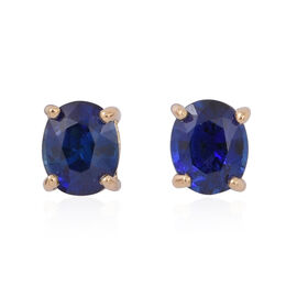 ILIANA 18K Yellow Gold 1 Carat AAA Ceylon Blue Sapphire Stud Earrings (with Screw Back)