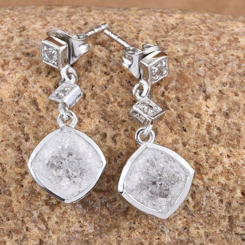 White Crackled Quartz (Cush), White Topaz Earrings (with Push Back) in Platinum Overlay Sterling Silver 4.250 Ct.