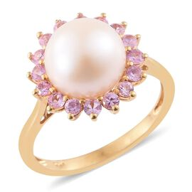 Pearl and Pink Sapphire Silver Halo Ring in Gold Overlay