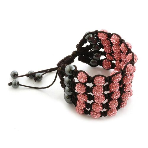 Pink Austrian Crystal and Hematite 5 Row Bracelet (Adjustable) 32.000 Ct.