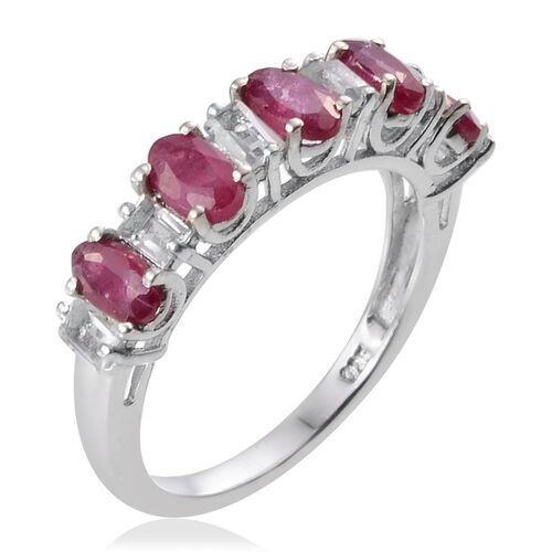 African Ruby (Ovl), White Topaz Half Eternity Ring in Platinum Overlay Sterling Silver 2.750 Ct.