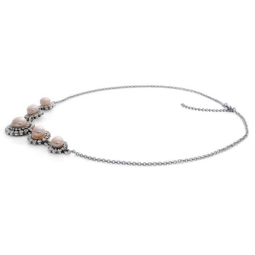 Fresh Water Pearl, White Austrian Crystal Necklace (Size 20 with Extender) in Silver Tone