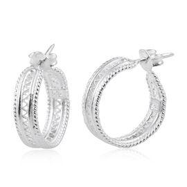 Sterling Silver Hoop Earrings (with Push Back), Silver wt 4.61 Gms.