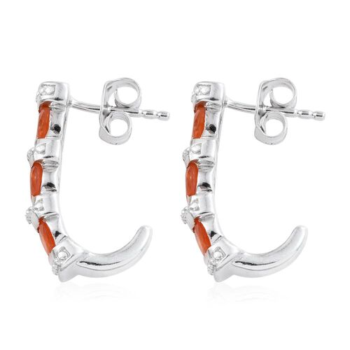 Jalisco Fire Opal (Ovl) J Hoop Earrings (with Push Back) in Platinum Overlay Sterling Silver 1.500 Ct.