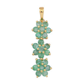 Kagem Zambian Emerald (Rnd) Triple Floral Pendant in 14K Gold Overlay Sterling Silver 1.500 Ct.
