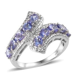 Tanzanite (Ovl) Crossover Ring in Platinum Overlay Sterling Silver 1.750 Ct.