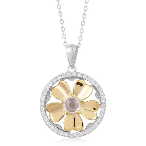 ELANZA AAA Simulated White Diamond Spinning Flower Pendant with Chain in Platinum and Yellow Gold Overlay Sterling Silver