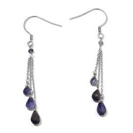 Iolite Hook Earrings in Platinum Overlay Sterling Silver 6.270 Ct.