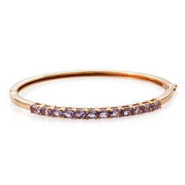 Rose De France Amethyst (Ovl) Bangle (Size 7.5) in ION Plated 18K Yellow Gold Bond 3.750 Ct.