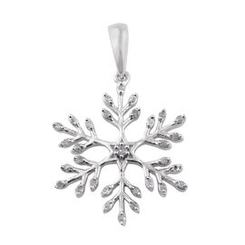 Diamond (Rnd) Snowflake Pendant in Platinum Overlay Sterling Silver 0.145 Ct.