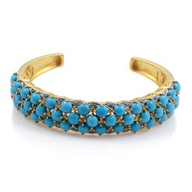 Arizona Sleeping Beauty Turquoise (Rnd), Diamond Cuff Bangle in 14K Gold Overlay Sterling Silver (Size 7.5) 16.150 Ct.