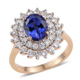 ILIANA 18K Yellow Gold AAA Tanzanite Oval, Diamond (SI G-H) Engagement Ring 3.250 Ct.