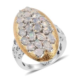GP Ethiopian Welo Opal (Pear), Kanchanaburi Blue Sapphire Ring in Platinum and Yellow Gold Overlay Sterling Silver 2.750 Ct.