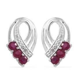 African Ruby (Rnd), Diamond Earrings (with Push Back) in Platinum Overlay Sterling Silver 1.000 Ct.