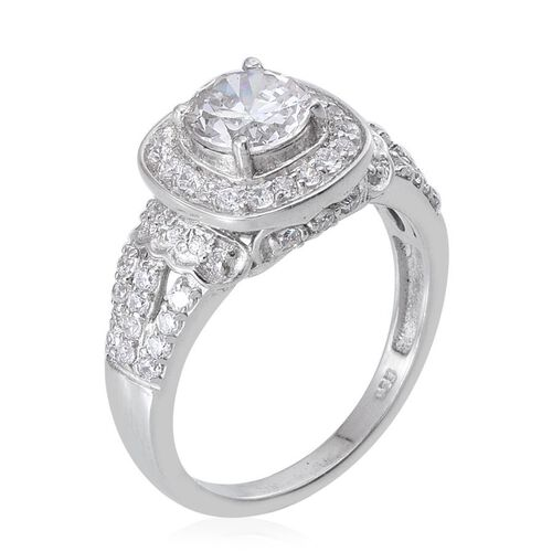 AAA Simulated Diamond (Rnd) Ring in Platinum Overlay Sterling Silver