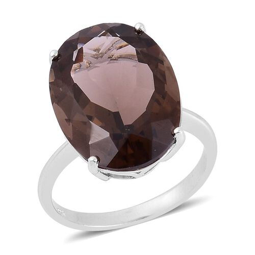 Rare Size Brazilian Smoky Quartz (Ovl) Ring in Rhodium Plated Sterling Silver 17.000 Ct.