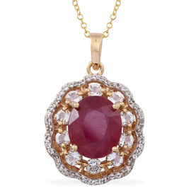 African Ruby (Ovl 6.60 Ct), White Topaz Pendant With Chain in 14K Gold Overlay Sterling Silver 8.500 Ct.