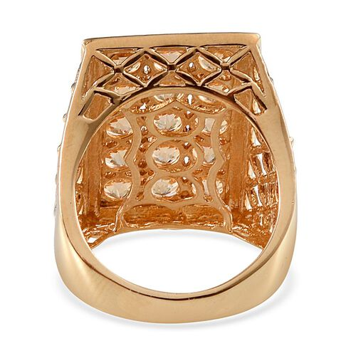 Signity Honey Topaz (Rnd) Ring in 14K Gold Overlay Sterling Silver 4.750 Ct.