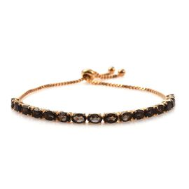 Brazilian Smoky Quartz (Ovl) Adjustable Bracelet (Size 7.5) in ION Plated 18K Yellow Gold Bond 6.750 Ct.