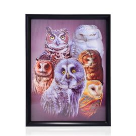 Owls Framed 3D Wall Painting (Size 41x32 Cm)