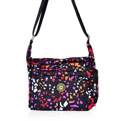 Black and Multi Colour Geometric Pattern Waterproof Sport Bag with External Zipper Pocket and Adjustable Shoulder Strap (Size 25x23x9 Cm)