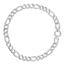 Thai Statement Collection Sterling Silver Figaro Necklace (Size 20), Silver wt 54.50 Gms.