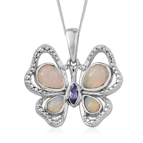 Ethiopian Welo Opal (Pear), Tanzanite Butterfly Pendant With Chain in Platinum Overlay Sterling Silver 1.250 Ct.