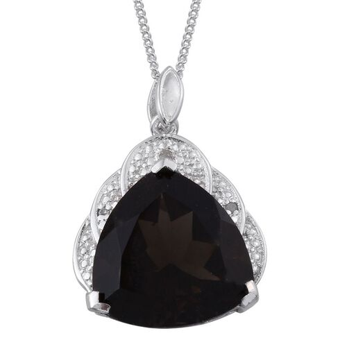 Brazilian Smoky Quartz (Trl 7.75 Ct), Diamond Pendant With Chain in Platinum Overlay Sterling Silver 7.760 Ct.