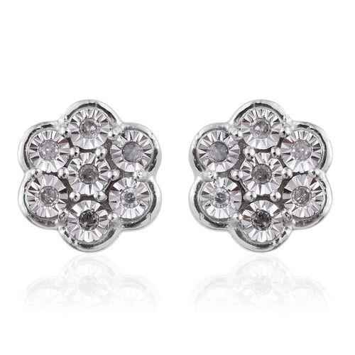 Diamond (Rnd) Floral Stud Earrings in Platinum Overlay Sterling Silver