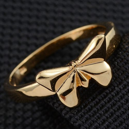 Origami Butterfly Silver Ring in Gold Overlay, Silver wt 3.61 Gms.