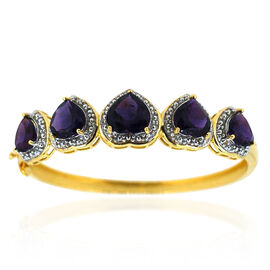 Amethyst (Hrt 4.75 Ct) Bangle in 14K Gold Overlay Sterling Silver (Size 7.5) 20.000 Ct.
