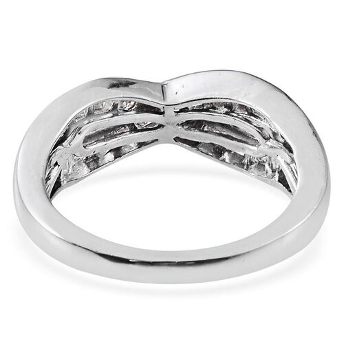 J Francis - Platinum Overlay Sterling Silver (Sqr) Criss Cross Ring Made With SWAROVSKI ZIRCONIA