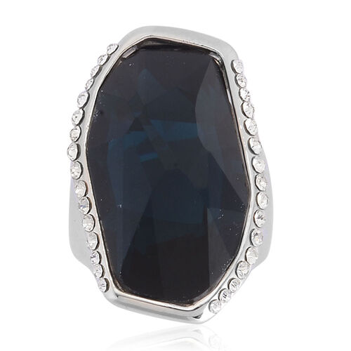 Simulated Blue Sapphire and White Austrian Crystal Ring in Silver Tone